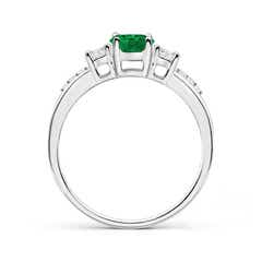 Toggle Classic Oval Emerald and Round Diamond Three Stone Ring
