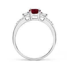 Toggle Classic Oval Garnet and Round Diamond Three Stone Ring