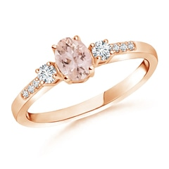 Classic Oval Morganite and Diamond Three Stone Ring