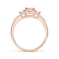 Toggle Classic Oval Morganite and Round Diamond Three Stone Ring