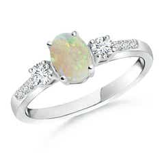 Classic Oval Opal and Round Diamond Three Stone Ring