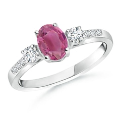 Classic Oval Pink Tourmaline and Diamond Three Stone Ring
