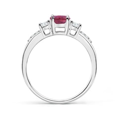 Toggle Classic Oval Pink Tourmaline and Diamond Three Stone Ring