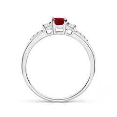 Toggle Classic Oval Ruby and Round Diamond Three Stone Ring