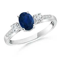 Classic Oval Blue Sapphire and Diamond Three Stone Ring