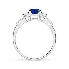Toggle Classic Oval Blue Sapphire and Round Diamond Three Stone Ring