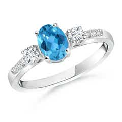 Classic Oval Swiss Blue Topaz and Diamond Three Stone Ring