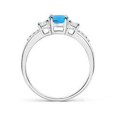Toggle Classic Oval Swiss Blue Topaz and Diamond Three Stone Ring