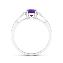 Toggle Tapered Shank Amethyst Solitaire Ring with Diamond Accents