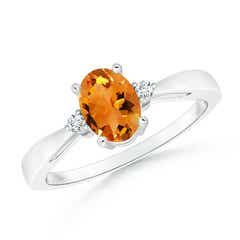 Tapered Shank Citrine Solitaire Ring with Diamond Accents