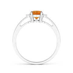 Toggle Tapered Shank Citrine Solitaire Ring with Diamond Accents