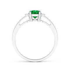 Toggle Tapered Shank Emerald Solitaire Ring with Diamond Accents
