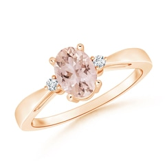 Tapered Shank Morganite Solitaire Ring with Diamond Accents