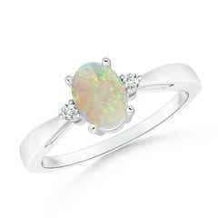 Tapered Shank Opal Solitaire Ring with Diamond Accents