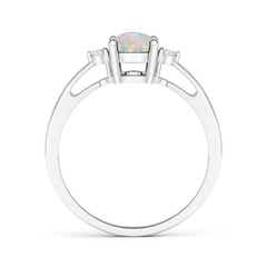 Toggle Tapered Shank Opal Solitaire Ring with Diamond Accents