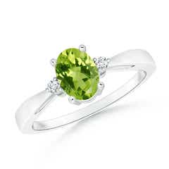 Tapered Shank Peridot Solitaire Ring with Diamond Accents