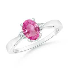 Tapered Shank Pink Sapphire Solitaire Ring with Diamond Accents