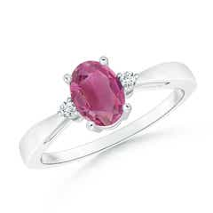 Tapered Shank Pink Tourmaline Solitaire Ring with Diamond Accents