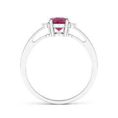Toggle Tapered Shank Pink Tourmaline Solitaire Ring with Diamond Accents