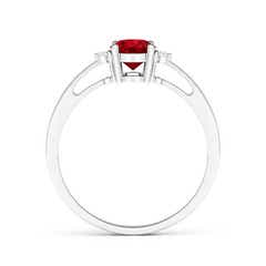 Toggle Tapered Shank Ruby Solitaire Ring with Diamond Accents