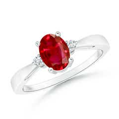 Tapered Shank Ruby Solitaire Ring with Diamond Accents