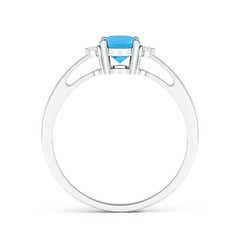 Toggle Swiss Blue Topaz Reverse Tapered Shank Ring with Diamonds