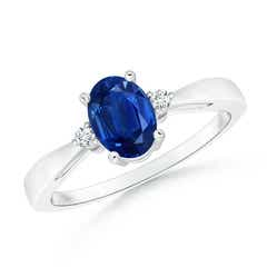 Tapered Shank Blue Sapphire Solitaire Ring with Diamond Accents