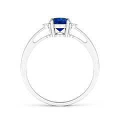 Toggle Tapered Shank Blue Sapphire Solitaire Ring with Diamond Accents