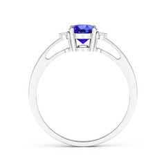 Toggle Tapered Shank Tanzanite Solitaire Ring with Diamond Accents
