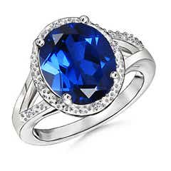 Split Shank Lab Created Oval Blue Sapphire Cocktail Ring