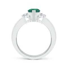 Toggle GIA Certified Pear-Shaped Emerald Three Stone Ring
