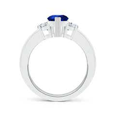 Toggle Pear-Shaped Sapphire Three Stone Ring with Diamonds