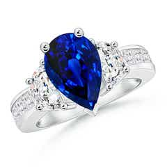 Pear-Shaped Sapphire Three Stone Ring with Diamonds