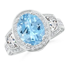 Oval Aquamarine Three Stone Ring with Diamonds