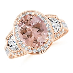 Oval Morganite Three Stone Ring with Diamonds