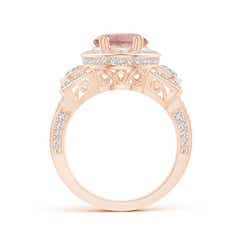 Toggle Oval Morganite Three Stone Ring with Diamonds