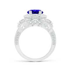 Toggle Oval Tanzanite Three Stone Ring with Diamonds