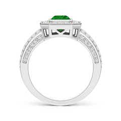Toggle Vintage Style Emerald-Cut Emerald Split Shank Halo Ring