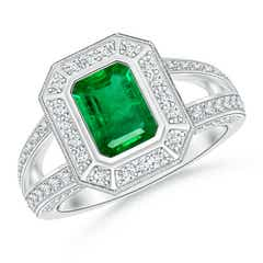 Vintage Style Emerald-Cut Emerald Split Shank Halo Ring