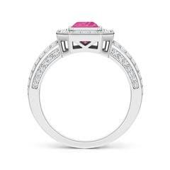 Split Shank Vintage Emerald-Cut Pink Sapphire Halo Ring