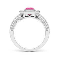 Toggle Vintage Style Emerald-Cut Pink Sapphire Split Shank Halo Ring