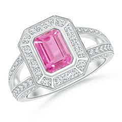 Vintage Style Emerald-Cut Pink Sapphire Split Shank Halo Ring