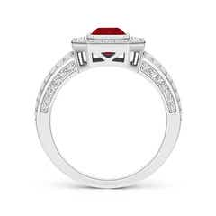 Toggle Vintage Style Emerald-Cut Ruby Split Shank Halo Ring