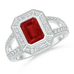 Vintage Style Emerald-Cut Ruby Split Shank Halo Ring