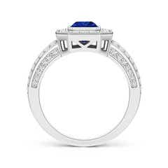 Toggle Vintage Style Emerald-Cut Blue Sapphire Split Shank Halo Ring