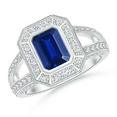 Vintage Style Emerald-Cut Blue Sapphire Split Shank Halo Ring