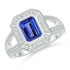 Vintage Style Emerald-Cut Tanzanite Split Shank Halo Ring