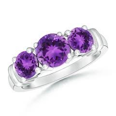Vintage Style Three Stone Amethyst Wedding Ring