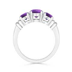 Toggle Vintage Style Three Stone Amethyst Wedding Band