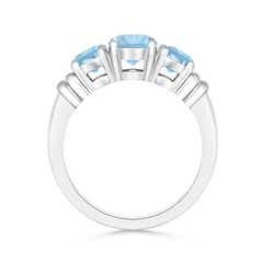 Toggle Vintage Style Three Stone Aquamarine Wedding Band
